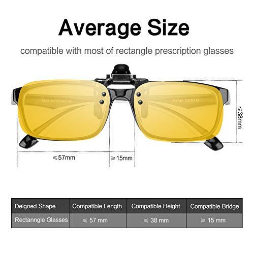 Splaks Clip en Gafas de Sol, 2 Amarillo, polarizadas, sin montura, lentes rectangulares, unisex, con clip de apertura hacia arriba se pueden enganchar en ...