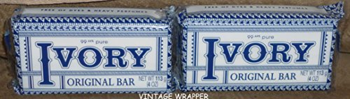 Ivory Soap Bars, Original Vintage Wrapper, (2 Bars) (Vintage Ivory Soap)