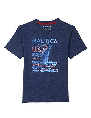 Nautica Boys' Short Sleeve Graphic T-Shirt, Retro Blue, Medium -