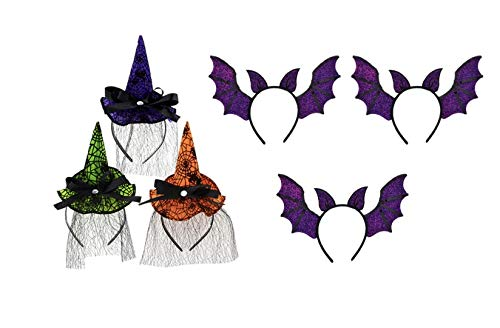 Colorful Halloween Witch Hat & Bat Wing Headbands Pak Of 6 -