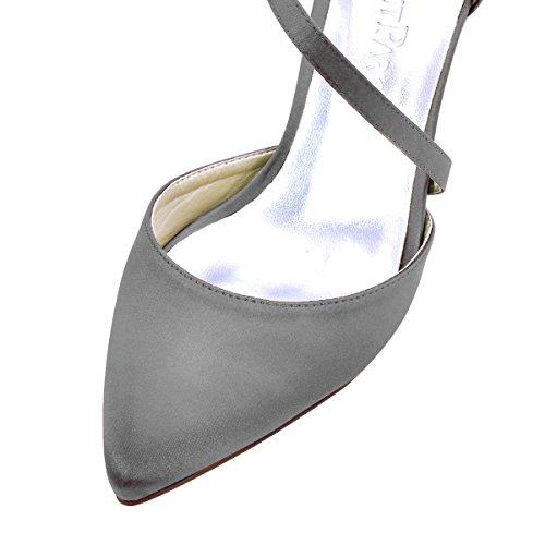 Elegantpark Femmes Haut Talon Pompes Bout Pointu Strappy Satin Mariage Robe De Bal Chaussures En Acier