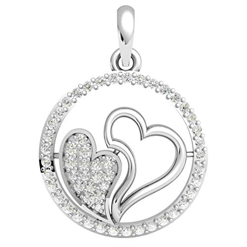 10k Gold Circle Heart Pendant - 0.40 carat Natural Round Diamond (KL Color, I1-I2 Clarity) Pendant For Women 10k White Gold Circle Flower