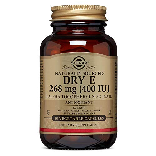 Dry Vitamin E 268 MG (400 IU) Vegetable Capsules (d-Alpha Tocopheryl Succinate) - 50 Count
