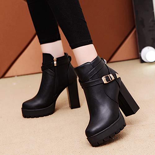 Cute girl girl girl Dick Mit Ankle Stiefel Weiblichen Herbst Und Winter Koreanische High-Heeled Martin Stiefel Trend Damen Stiefel 50e2e7