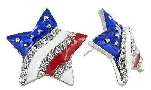 Holiday Enamel (American Flag Star Stud Earrings - Rhinestone Crystals with Red & White Enamel Stripes, Blue Enamel, Silver)