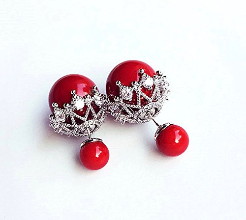 MISASHA Fashion Jewelry Red Faux Imitation Pearl Double Ball Earrings Chanel Crystal Bracelets