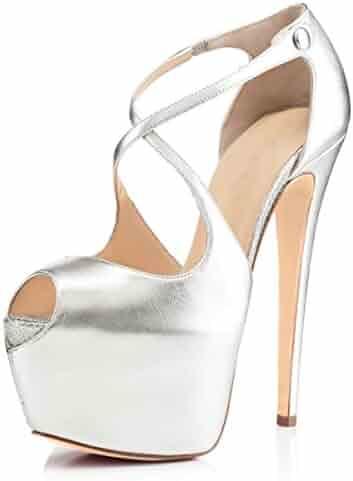 ea1564878 Joogo Open Toe Platform Stilettos Ankle Corss Strap Buckle Snap High Heels  Wedding Pumps