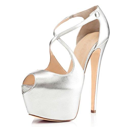 Buckle Detail Pumps (JOOGO Open Toe Platform Stilettos Ankle Corss Strap Buckle Snap High Heels Wedding Pumps Sliver Size 14)