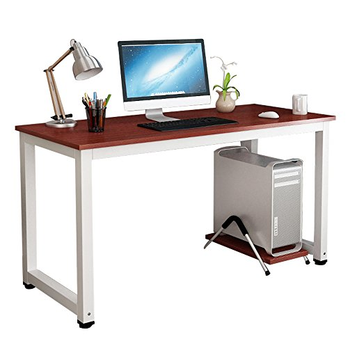 gootrades Computer Desk,47'' Sturdy Office Desk Study Writing Desk,Modern Simple Style PC Workstation Table for Home Office,Teak+ White Leg by gootrades