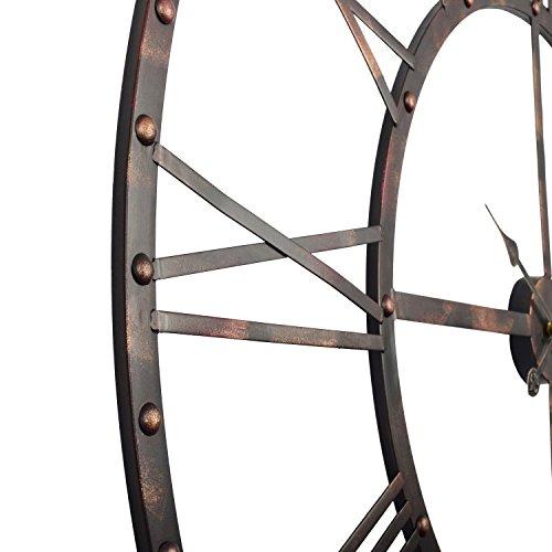 Utopia Alley Rivet Roman Industrial Oversize Wall Clock, Antique Bronze, 45 quot L x 45 quot H