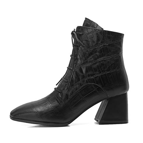Lace Black Zipper up Block Ladies Leather Toe High Heels Fashion Square Women Heels Genuine Boots Ankle Zq5nvwEnCx
