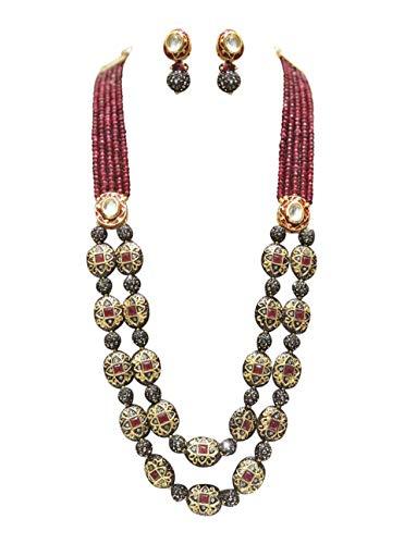 (Babosa Sakhi Ethnic Antique Necklace Ruby Onyx Beaded Indian Kundan Jewelry)