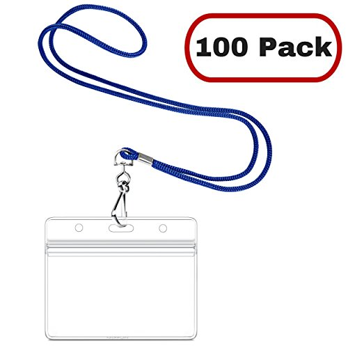 MIFFLIN Horizontal Nametag Name Badge Holder with Woven Lanyard (Royal Blue, 100 Pack)