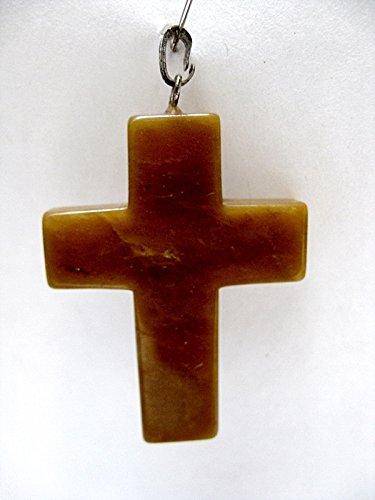 Natural mente–Pendentif, Aventurine Orange, croix, pierres précieuses, collier, Semi, Aventurine Orange, N ° 1