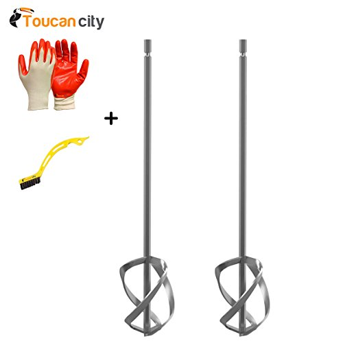 RIDGID Mixer Paddle Set for RIDGID Dual Paddle Mud Mixer AC7131N and Toucan City Tile and Grout Brush and Nitrile Dip Gloves (5-Pack) by Toucan City