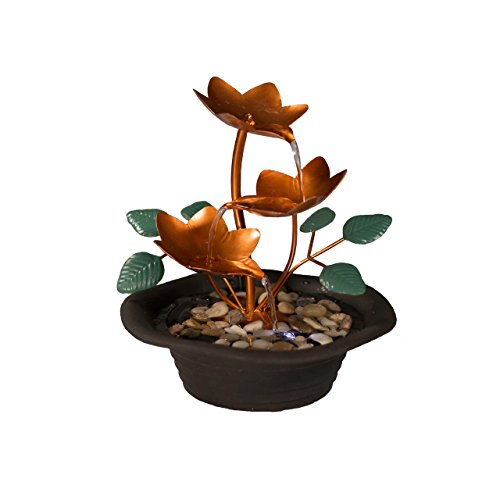 Sunnydaze Copper Blossom Cascading Tabletop Fountain with LED Light, 10 Inch Tall