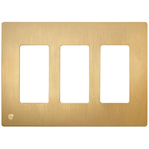 ENERLITES Elite Series Screwless Decorator Wall Plate Child Safe Outlet Cover, Size 3-Gang 4.68