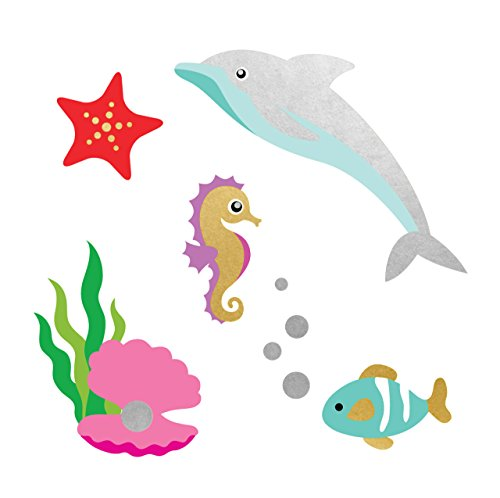FISH FRIENDS set of 25 premium Fun Tats kids waterproof temporary colorful under the sea inspired Flash Tattoos–party favors, party decor