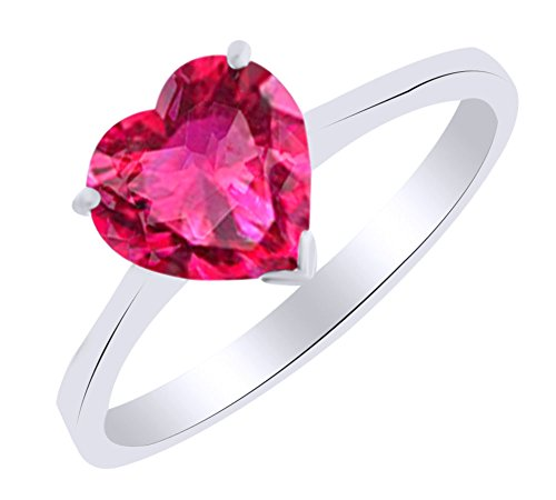 Heart Shape Simulated Ruby Solitaire Engagement Ring In 14K White Gold (3.75 cttw) Ring Size-4.5 by AFFY
