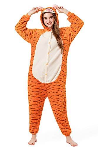 Grilong Unisex Adult Animals Pajamas Onesie Cosplay Costume Cute Sleepwear, Large9_tiger