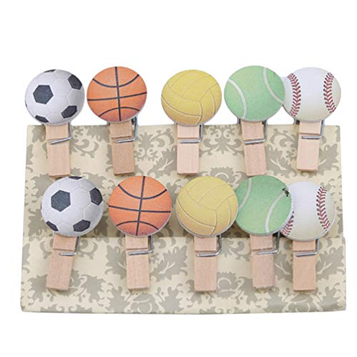 LANWF Football Photo Clip Mini Wooden Football Alphabet Series DIY Craft Clips Paper Note Memo Card Holder Craft Clips for Party Decorations,Football Series (Memo Football Holder)