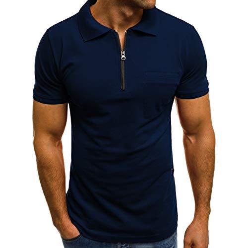 KASAAS Polo Shirts for Men Solid Zipper V-Neck Tops Short Sleeve Pocket Casual Fashion Slim Fit Pullover T-Shirt (Medium, Navy)