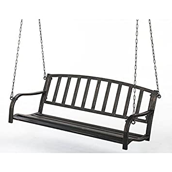Metal swinging patio bench
