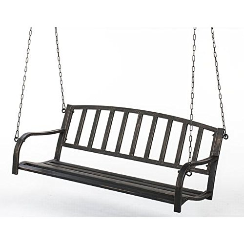 Metal Patio Porch Swing (Black Porch Swing)