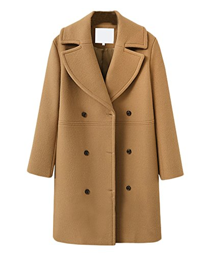 Coat De Lana Abrigos Recto Mujer Caqui Abrigo Jacket Gabardina De Manga Mezcla Larga XvqxOwp