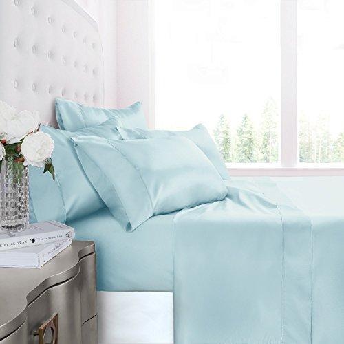 Egyptian Luxury Silky Soft Satin 4-Piece Bed Sheet Set - Ultra Smooth Satin Microfiber - Wrinkle & Fade Resistant, Hypoallergenic Sheet & Pillow Case Set -Full - Aqua