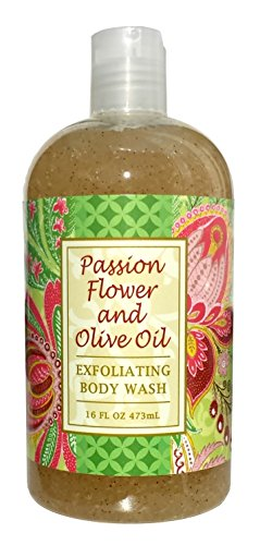 Greenwich Bay PASSION FLOWER OLIVE OIL Exfoliating Body Wash, Enriched with Shea Butter, Blended with Loofah and Apricot Seed 16 oz