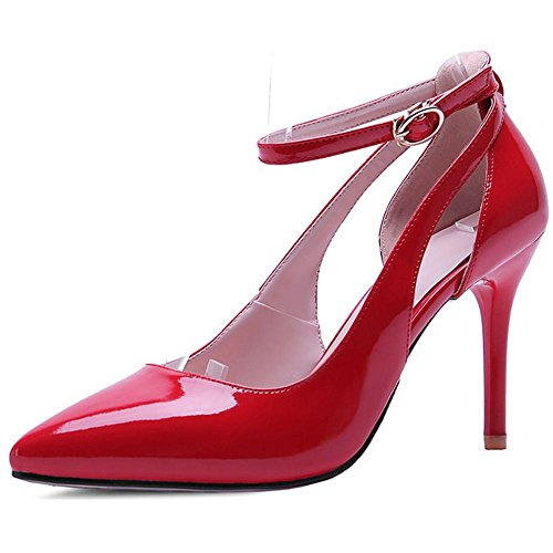 Patent Red Shoes Strap Pumps Basic Wedding Heels LongFengMa Stiletto Bridal Women Ankle Solid Office TOqw8vPn8R