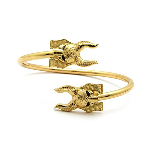 Fashion 21 Unisex Egyptian Anubis Head Piece Bangle Cuff Zinc Alloy & Brass Bracelet in Gold Tone (Large Size)
