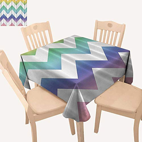 UHOO2018 Fitted Polyester Tablecloth   Rainbow Large Zig ZagBathroom Accessories Artist Western Square/Rectangle Washable for Tablecloth,50x 50inch ()