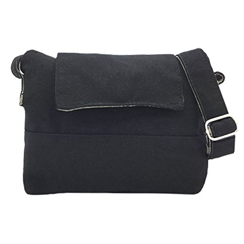 Tramzzd M Girls Cute Simple Vintage Canvas Cross body Shoulder Messenger bag Collection Pockets Cellphone Pouch (Black)