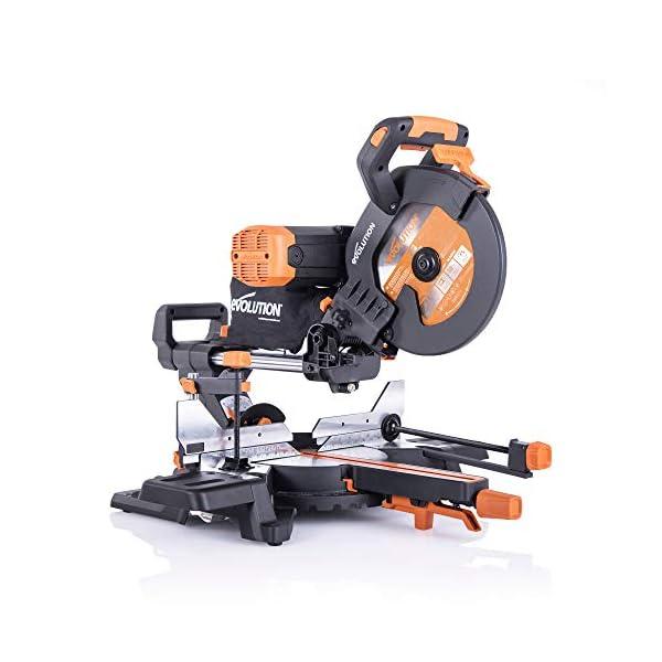 Evolution Power Tools 053-0003A R255SMS-DB+ Sierra ingletadora deslizante multimaterial de 255mm, con doble bisel y paquete plus