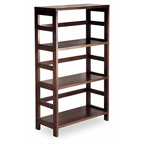 Winsome Wood 3-Shelf Wide Shelving Unit, - Bookshelf Open