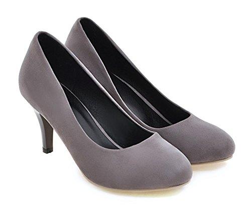 Aisun Womens Élégant Pointu Robe Orteil Taille Basse Stiletto Chaton Talons Glisser Sur Les Chaussures De Mariée Chaussures Gris