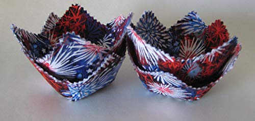 - Mini July 4th Baskets - Party Favors - Cotton Fabric - Set of 4
