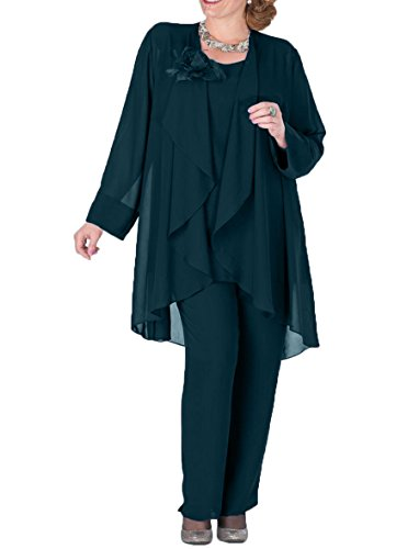 3 Pieces Mother Pantsuits with Jacket Plus Size Formal Outfits Size 18 Teal ()