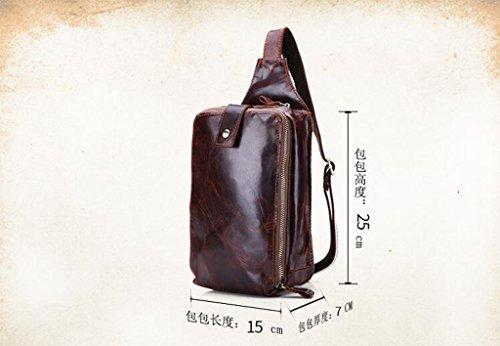 Bolsos Autentico Mochila Bandolera Sucastle Hombre de 1 Resistentes de Pequeña Bolsa Bolso Bolsos Cuero Hombro Piel Pecho 15x7x25cm y 2 nOw0wqfx6R