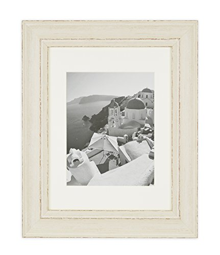 Cream Color Frame - Golden State Art Wall Hang 11x14 Picture Frame, 2-inch Wide. Includes an Ivory Mat for 8x10 and Real Glass, Color Cream with Shabby Chic Style