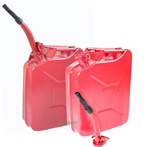 Clever Market Gas Tank Jerry Can Automotive Fuel Steel Red Tank Kit Emergency Backup NATO Army Gasoline Military Storage Tank Lot 2 Two 5 Gal 20L ()