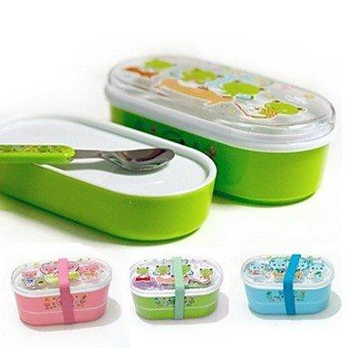 Plastic Children Double-deck Lunch Box With Spoon Random Color,15x8x8cm