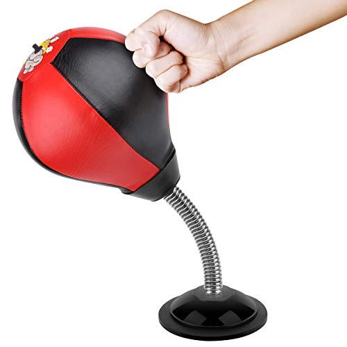 Cyrus Desktop Punching Bag Boxing Bag Punch Bag Stress Relief Toys with Pump for Office Home Kids Adults (Black/Red)