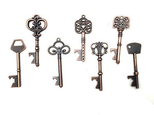 - Yansanido Pack of 70 Skeleton Key Bottle Opener with Escort Tag Card and Twine for Wedding Favors for Guests Party Favors (mixed 7 styles Copper)