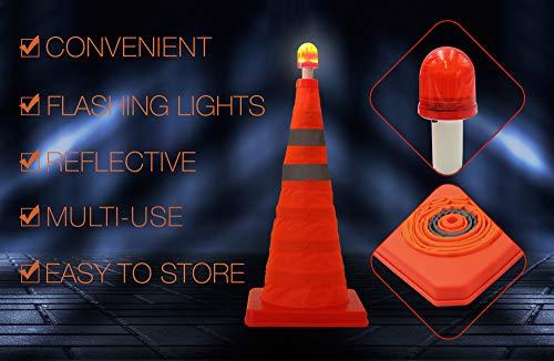 Cono de seguridad plegable – Pack de 2 – 22 pulgadas multiusos – Cono de seguridad desplegable – extensible con luz LED para la noche tiempo carretera emergencia: Amazon.es: Amazon.es