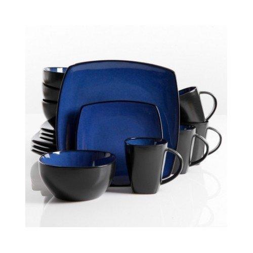 square dinnerware service for 8 plates bowls mugs 32piece set modern blue u0026 black - Modern Dinnerware