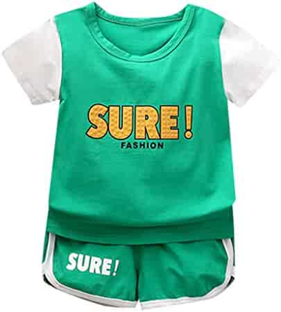 SNOWSONG Summer 2 Piece Sets Baby Boy Girl Short Sleeve T-Shirt Camouflage Pants Casual Clothes Outfits Marker Boards