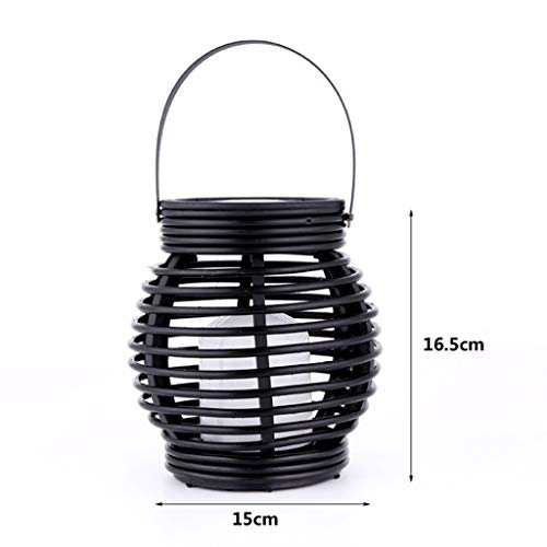Iuhan Lantern Light Outdoor, Industrial Vintage Metal Cage Hanging Ceiling Pendant Light Holder Lamp Shade Rattan Flame Lamp (Black) by Iuhan  (Image #4)